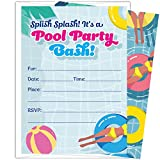 Pool Party Invitations for Kids: 25 Invites and Envelopes for Your Boys Or Girls Summer Birthday, Swim Or Splash Pad Party
