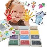 Ink Pad, Fingerprint Ink, Ink Pads Rubbers Stamps, 12 Colors DIY Craft Stamps for Kids, Non-toxic Rubber Stamp Pad Craft for Children Baby Safe Ink Pad Sets Washabl