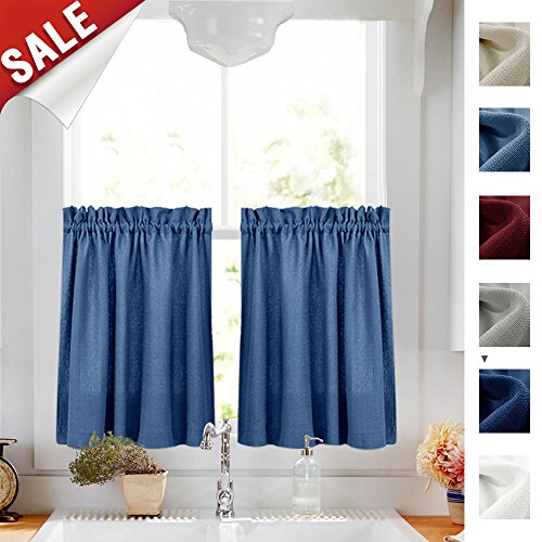Tier Curtains Semi Sheer Short Curtains Kitchen Casual Weave Cafe Curtains Half Window Treatments 2 Panels 36