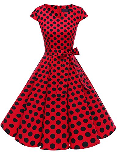 DRESSTELLS Retro 1950s Cocktail Dresses Vintage Swing Dress with Cap-Sleeves Red Black Dot XL
