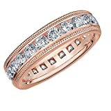 18K Rose Gold Diamond Milgrain Wedding Band (2.0 cttw, F-G Color, VS1-VS2 Clarity)