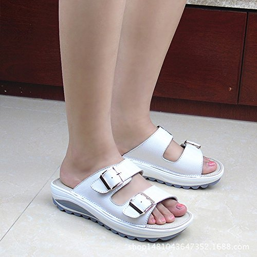 CJ 2018 été nouvelles sandales sandales et pantoufles en cuir casual dames pantoufles anti-dérapant fond épais pente avec des étudiants chaussures de plage, 001, UK 5.5/EU 38