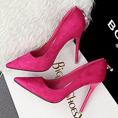 Fermés Femmes Perlé Hauts Escarpin Talons Aiguille Chaussures Pumps Pointu Escarpins Inconnu Fuschia Élégants TqwZvxOnH