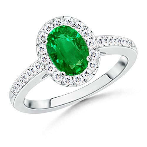 Oval Emerald Halo Ring With Diamond Accents in 14K White Gold