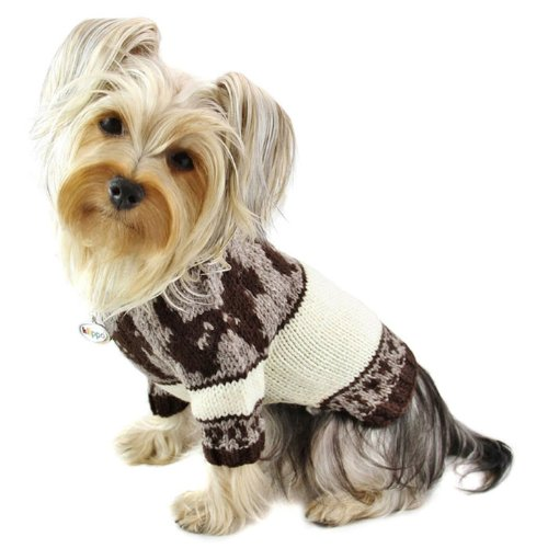 Hand Knitted Dog Sweater with Brown Doggies and Pattern Desgin - XS - Hand Knitted Dog Sweater