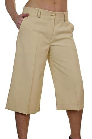 fb505580412e33 icecoolfashion (1475) Pantalon ¾ Type Jupe-Culotte Noir Élégant et Doux