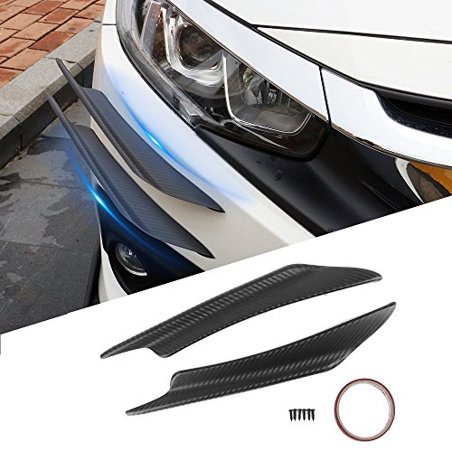 Front Canards Splitters Fits Most Vehicles | Universal V1 A Style 40CM Carbon Texture PP Spoiler Splitter Valance Canards Chin Bodykit by IKON MOTORSPORTS