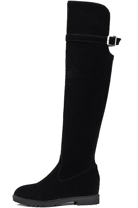 4d20f1b1 Botas Altas Mujer Ante sintética Aumento Invierno Elegantes Casual Negro  Planas Botas altas largas De BIGTREE: Amazon.es: Zapatos y complementos