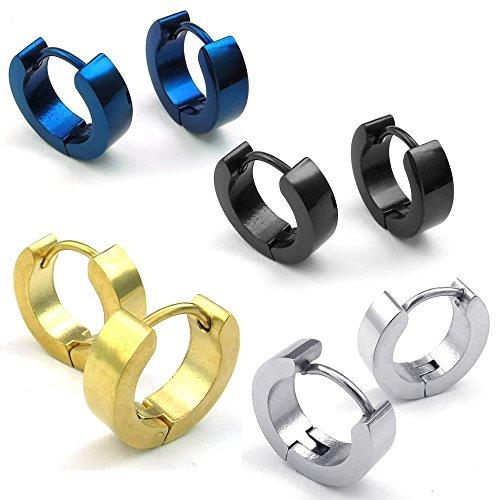 Konov Jewelry Mens Stainless Steel Classic Plain Huggie Hinged Hoop Earrings, Black Blue Gold Silver, 4 Pairs 8pcs, with Gift Bag, C23572