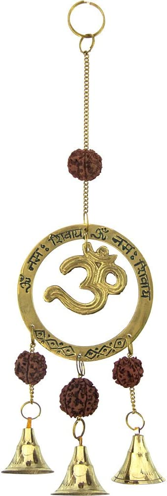 The New Age Source Brass Bell Chime Om with Rudraksha Each