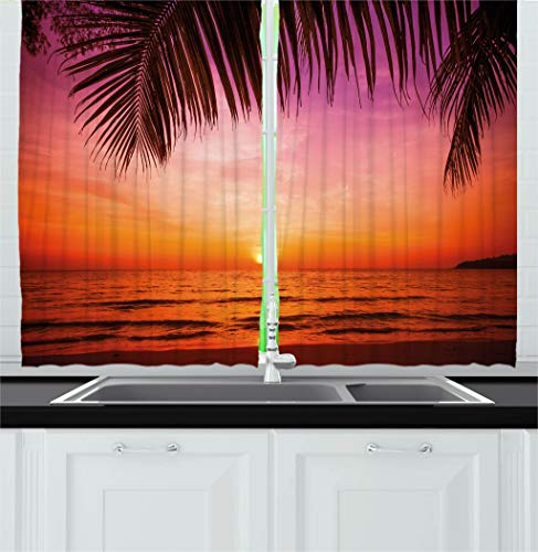 Ambesonne Nature Kitchen Curtains, Exotic Sunset Above Sea S