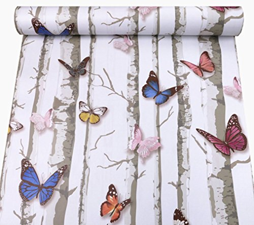 REDODECO Pretty Butterfly Rural Style Contact Paper Shelf Liner Peel & Stick Dresser Drawer Sticker Home Deco 17.7inch by 118inch (Multi-Flower1)