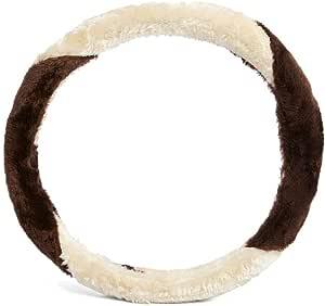 Xcessories Color Fur Steering Cover - Brown/Beige
