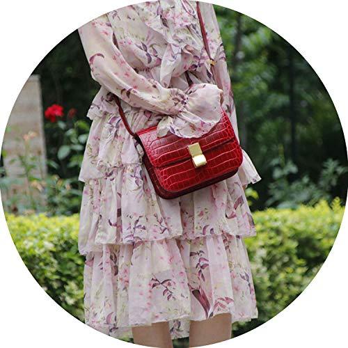 Genuine Leather Women Bag Fashion Classic Crocodile Pattern Ms. Shoulder Bag Messenger Bag,red size 2 (Juvenile Pedals)