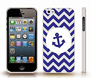 iStar Cases? iPhone 4 Case with Chevron Pattern Grey/Navy Blue Stripes, Blue Anchor on White , Snap-on Cover, Hard Carrying Case (White)