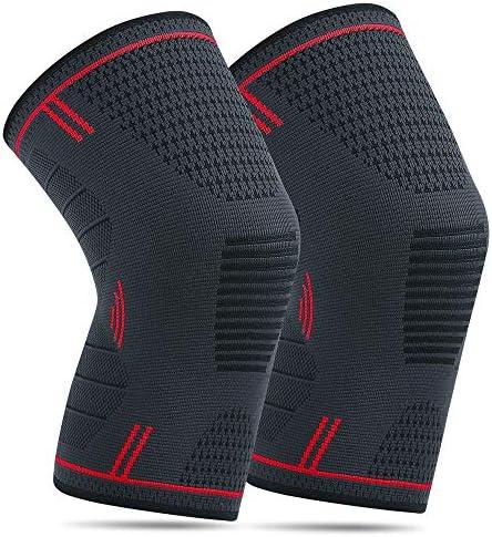 2 Pack Kniebandage für Damen Männer Elastische Kompression Knieschoner für Laufen Walking Radfahren Basketball und Knie Sicherheit Schmerzlinderung (Rot)