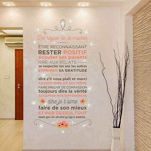 Pegatinas de Pared con Cristales de Swarovski y Las Reglas de la casa Floral francés murales Adhesivos Decoración del hogar Sala de Estar Nursery Restaurante Cafe Oficina decoración: Amazon.es: Hogar