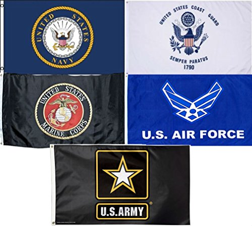 Wholesale Lot 5 3x5 Branches Military USAF USCG USMC Army Na