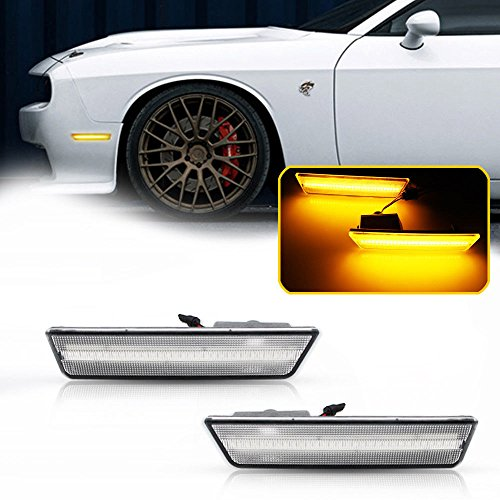 GTINTHEBOX 2PCS 3D Classic Clear Lens Amber 24-SMD LED Front Bumper Side Marker Lights Lamps Replacement Kit For 2008-2014 Dodge Challenger ()