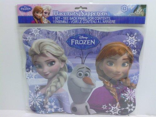 [Disneys Frozen Party Placemats Pkg of 12 Anna, Elsa Olaf] (Disney Frozen Placemat)