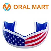 Oral Mart Adult & Youth American Flag Mouth Guard - Cushion USA Flag Mouthguard for Roller Derby, Boxing, Sparring, Lacrosse, Basketball, Rugby, Flag Football,Hockey for Kids/Adults (Comes with Case)