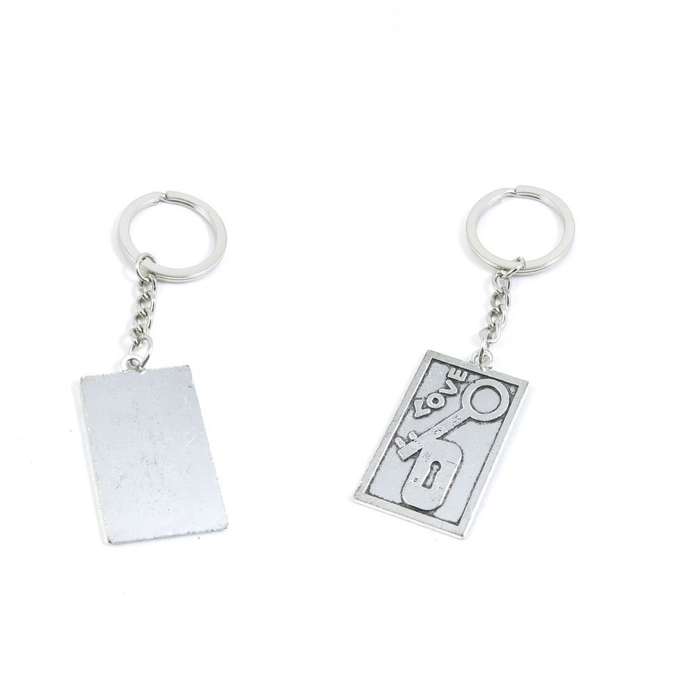 100 PCS Love Lock Tag Signs Keychain Keyring Jewelry Making Charms Door Car Key Tag Chain Ring X1CP3I