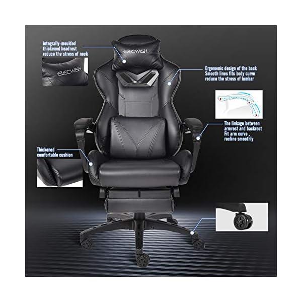 Fullwatt Chaise de Jeu pour Adultes avec Repose-Pieds et Coussin Lombaire massant, Hauteur pivotante et inclinable en…
