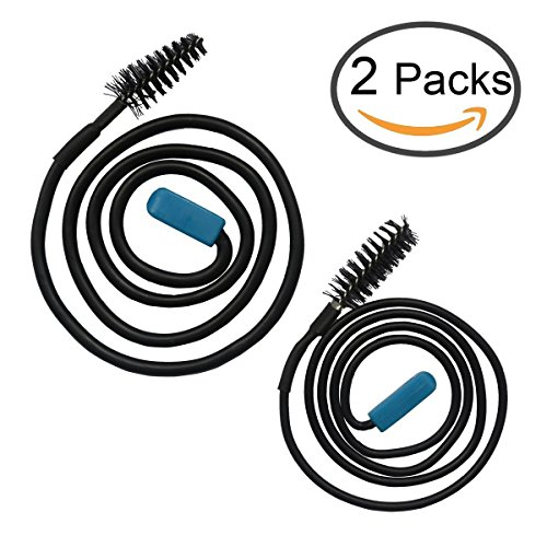 Zelta Flexible Sink Clog Removal Brush, Black Drain Unclog Tool, Pack of 2