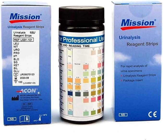 MISSION Tiras reactivas de orina para valores sanguíneos, bilirrubina, urobilinógeno, cetonas, proteínas, nitritos, glucosa, pH, gravedad específica y ...