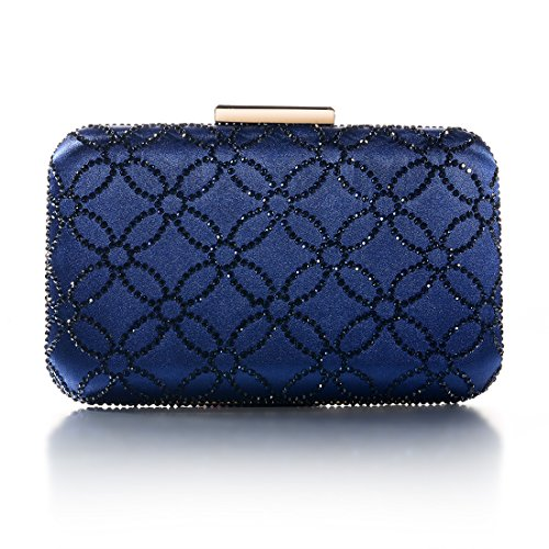 DMIX Womens Hard Case Crystal Box Clutch Purse Evening Bags and Handbags for Party Prom Wedding Navy ()
