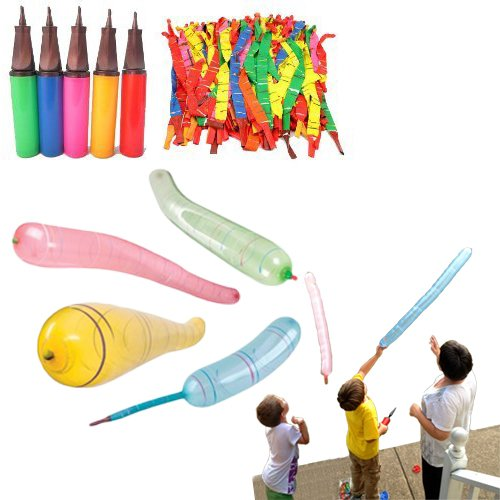 (Rocket Balloon Kit with Pump - Pack of 60 Party Balloons with Rocket Zooming Action for Kid's Birthday Party | BBQ | Beach | Camping | Beach - Flying Balloons 60 Count with Two Way Balloon Inflator)