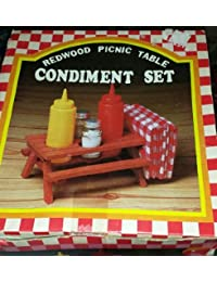 CheckOut 1970's Vintage Redwood Picnic Table Condiment Set Glass S & P Shakers save