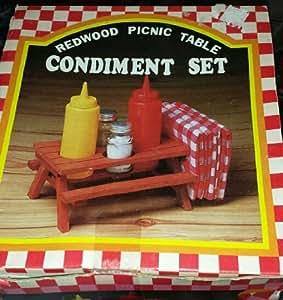 1970's Vintage Redwood Picnic Table Condiment Set Glass S & P Shakers