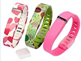 Fitbit Flex Wristband, Bixu Replacement Band for Fitbit Flex with Clasp Large Size and TPE Protective Cap 3pcs Pink Big Heart