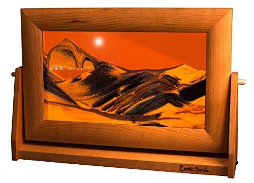 (Exotic Sands Sand Pictures Manufacturer Direct - USA Quality - Lg23 Framed Desert Sands - Large Cherry Wood Frame (Sunset Orange) Handcrafted - Handmade - William Tabar Artist - Art in Motion)