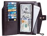 Travelambo Womens RFID Blocking Large Capacity Luxury Waxed Genuine Leather Clutch Wallet Multi Card Organizer (pebble coffee)