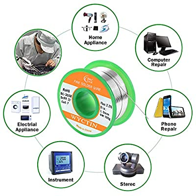 WYCTIN Lead Free Solder Wire Sn99 Ag0.3 Cu0.7 with Rosin Core for Electrical Soldering 0.22lbs (1.0 mm)