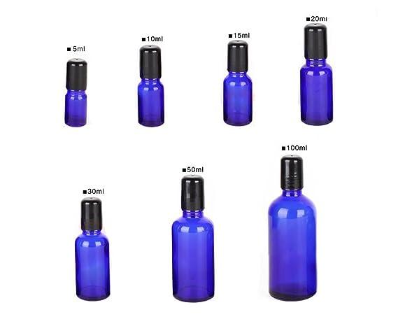 Juego de 3 tarros de botellas de cristal de aceite esencial azul con bolas de acero para cosméticos, perfumes, maquillaje, contenedor, herramientas de ...