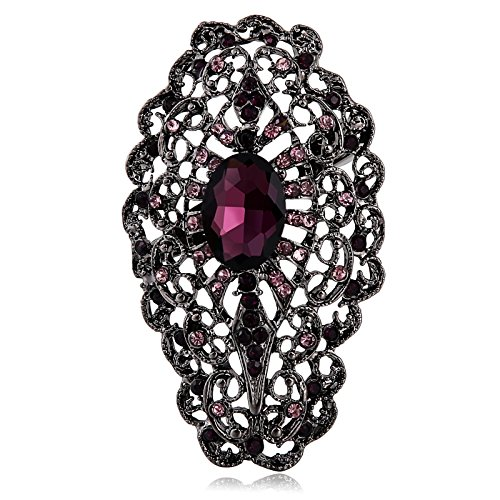 - Epinki Stainless Steel Hollow Flower Crystal Purple Brooch for Women Bussiness Wedding Gift