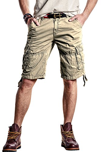 INFLATION Mens Flat Front Shorts Casual Classic Fit Cargo Shorts 100% Cotton Work Shorts with Pockets,Khaki Shorts Size 38