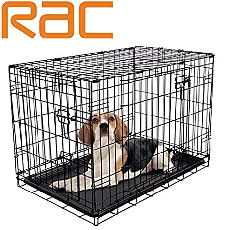RAC Jaula plegable para cachorro de perro, 2 puertas, con bandeja ...