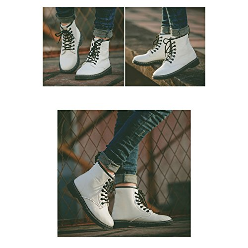 Giles Jones Womens Stylish Combat Boots - Round Toe Lace Up 6 Eye Flat Heel Classic Ankle Bootie - White