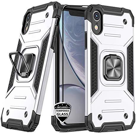 REEJAX iPhone XR Case with Screen Protector,Heavy Duty Rugged Cover with Magnetic Ring Kickstand for Car Mount Holder,Protective Phone Case for Apple iPhone XR Silver