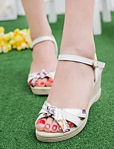 ShangYi Women's Shoes Flange Print Floral All Match Wedge Heel Comfort Sandals Dress Pink 8cfk0T