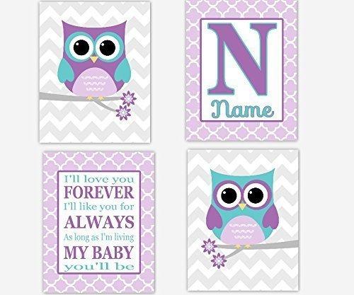 Owl Girl Nursery Wall Art Purple Lavender Teal Love You Forever Personalize Name Art Monogram Owl Wall Decor Baby Nursery Decor Owl Wall Art SET OF 4 UNFRAMED PRINTS