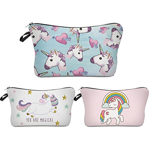 Unicorn Makeup Bag,Deanfun 3pcs/set Super Funny 3D Printing women cosmetic bag Multifuncition Pencil Holder (HZBTZ4) (Pencil Lip Makeup Beauty Gloss)