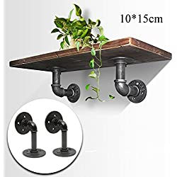 KINGSO 2Pcs 15x10cm Industrial Black Iron Pipe Shelf Bracket Wall Mounted Floating Shelf Hanging Wall Hardware Steampunk Decor for Custom Shelf Plumbing Pipe Shelf Restoration Hardware Shelf
