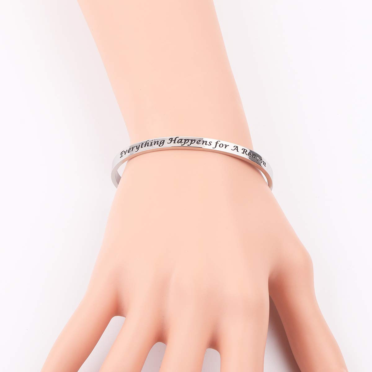 AZFEIYA Inspirational Bracelet Confidence Jewelry Motivational Cuff Bracelet Everything Happens for a Reason Encouragement Bracelet Personalized Birthday Gift (Silver Bracelet) by AZFEIYA (Image #6)