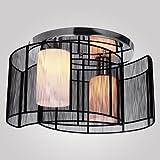 LightInTheBox Black Semi Flush Mount with 2 Lights, Mini Style Chandeliers Modern Ceiling Light Fixture for Hallway, Dining Room, Living Room