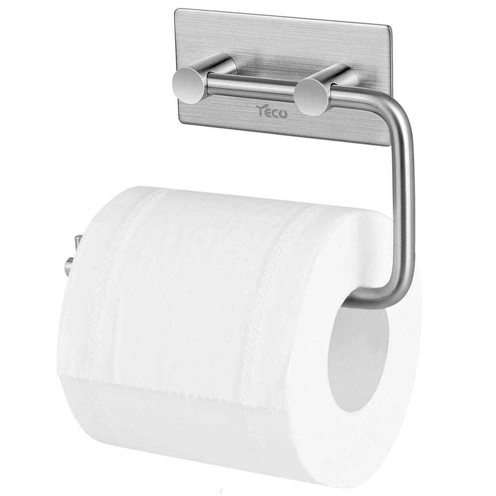 Aikzik Toilet Roll Holder No Drilling Required Self-Adhesive Toilet Roll Holder Stainless Steel for Kitchen and Bathroom Toilet